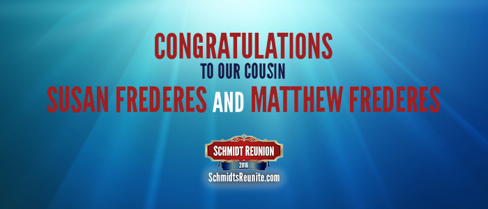 Congrats - Susan and Matthew Frederes