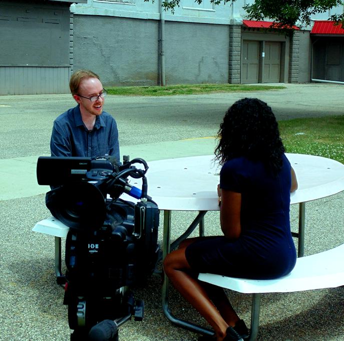 Deborah Souverain of ABC9 News interviews Josiah Schmidt