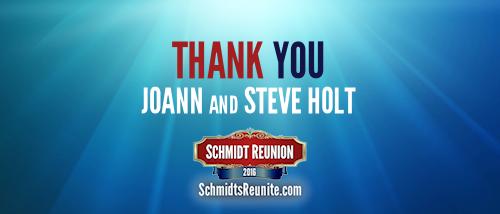 Thank You - Joann and Steve Holt