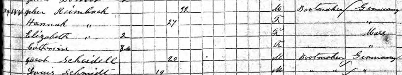 John and Hannah Rimbach family 1855