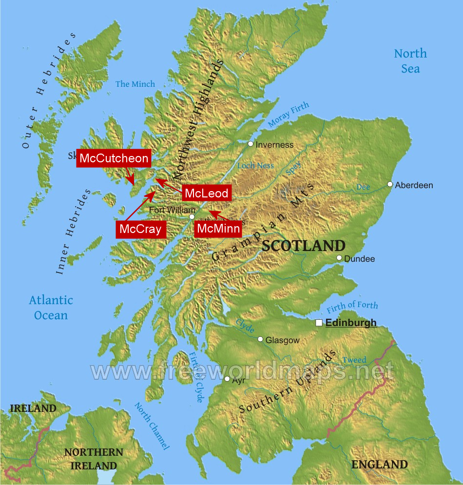 Scotland map with Schmidt related clans