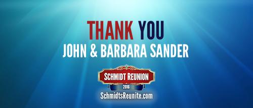 Thank You - John and Barb Sander