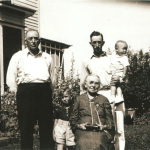 "(Left to right) Lewis John Jergens (1871-1954); William Frank ""Bill"" Jergens (1933-2009) (Frank's son, Lew's grandson); Myre Elizabeth (Hecht) Jergens (1851-1948) (Lew's mother, Frank's grandmother); Frank Lewis Jergens (1909-1992) (Lew's son); Victor Louis ""Vic"" Jergens (1935-1989) (Frank's son, Lew's grandson).   Photo taken at Mike and Lizzie Lindemann's 50th wedding anniversary party on Carl Lindemann's farm in Humboldt, Iowa in July 1937.  Bill and Vic Jergens were two of the children of Frank Jergens, grandsons of Anna (Schmidt) Jergens, great grandsons of Conrad Schmidt, 2xgreat grandsons of Dietrich Schmidt Sr., 3xgreat grandsons of Friedrich Schmidt, 4xgreat grandsons of Johannes Schmidt Jr., 5xgreat grandsons of Johannes Schmidt Sr., 6xgreat grandsons of Hans Heinrich Schmidt, and 7xgreat grandsons of Hans Schmidt.  Photo courtesy of Denise Lindemann"