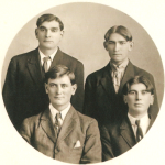 (Left to right) (Back row) Frederick William Schmidt (1892-1955); Michael Conrad Schmidt (1894-1954). (Front row) Henry John Schmidt Jr. (1896-1974); John Norwin Van Loh (1904-1982).  The Schmidt boys were brothers (sons of Henry and Mary [Moser] Schmidt). John Van Loh was their cousin (son of Henry and Margaret [Schmidt] Van Loh).  All four boys were the grandsons of Conrad Schmidt, great grandsons of Dietrich Schmidt Sr., 2xgreat grandsons of Friedrich Schmidt, 3xgreat grandsons of Johannes Schmidt Jr., 4xgreat grandsons of Johannes Schmidt Sr., 5xgreat grandsons of Hans Heinrich Schmidt, and 6xgreat grandsons of Hans Schmidt.  Photo courtesy of Denise Lindemann
