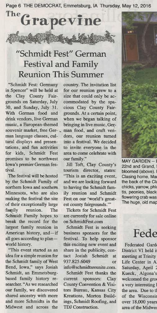 Schmidt Fest article - Emmetsburg Democrat - 12 May 2016 - page 6