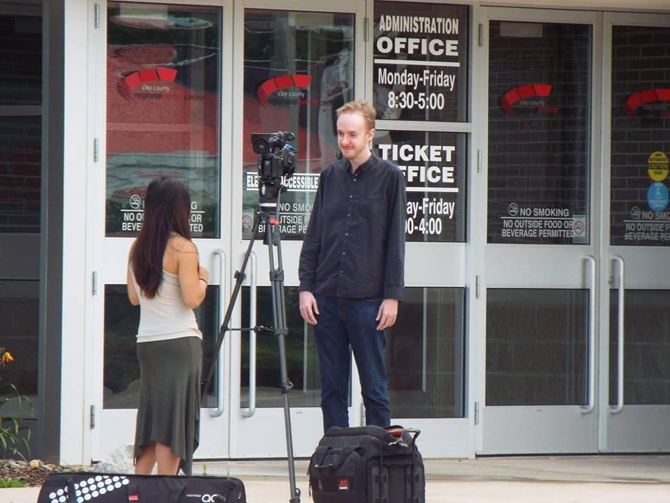 Josiah Schmidt and ABC9 Reporter Jamie Perez