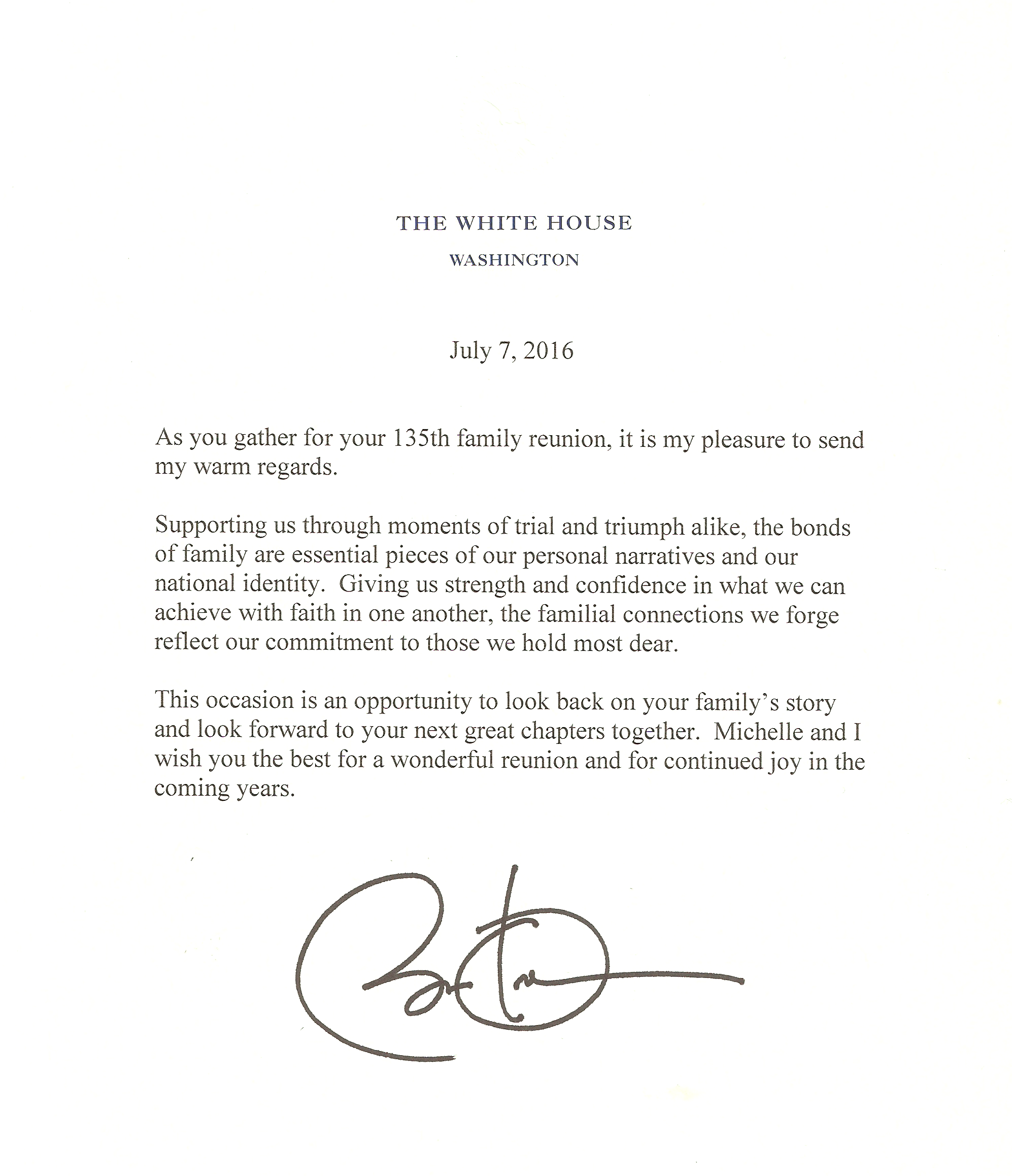 7-7-2016 letter from Barack Obama to Schmidt Reunion