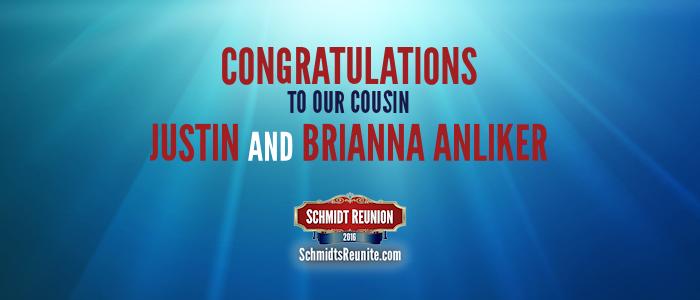 Congrats - Justin and Brianna Anliker