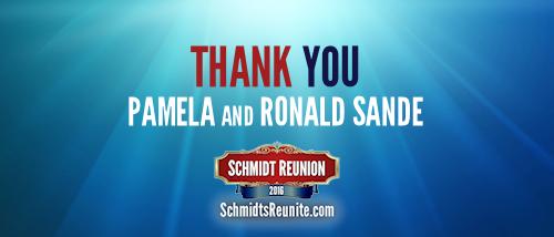 Thank You - Pamela and Ronald Sande