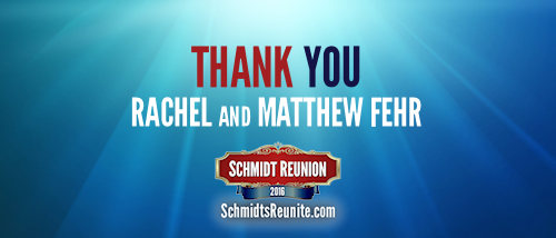 Thank You - Rachel and Matthew Fehr