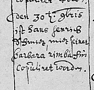 Hans Heinrich Schmidt and Barbara Rimbach marriage record 1682 Blankenbach