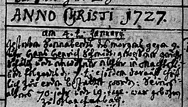 Hans Heinrich Schmidt death record 1727