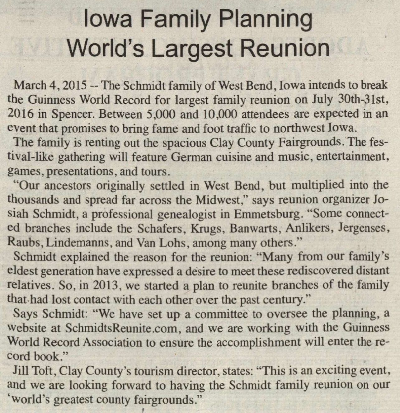 Iowa Family Planning Worlds Largest Reunion - West Bend Journal - 12 and 19 March 2015 - West Bend Journal