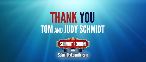 Thank You - Tom and Judy Schmidt