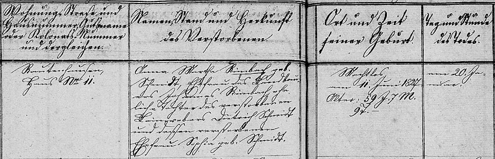 Anna Martha (Schmidt) Rimbach burial 1887 Rautenhausen