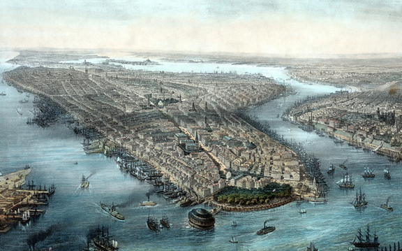New York harbor circa 1850