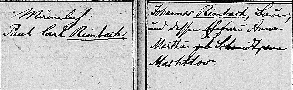 Paul Carl Rimbach baptism 1869