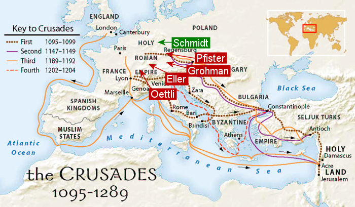 Crusade Routes with Schmidt related families