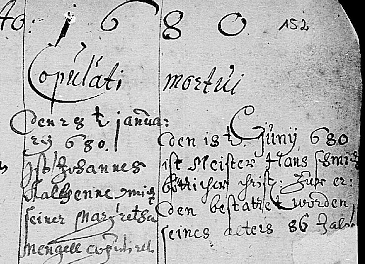 Hans Schmidt death record Blankenbach 1680