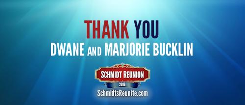 Thank You - Dwane and Marjorie Bucklin