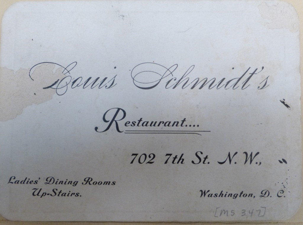 Louis Schmidt restaurant business card