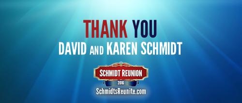 Thank You - David and Karen Schmidt