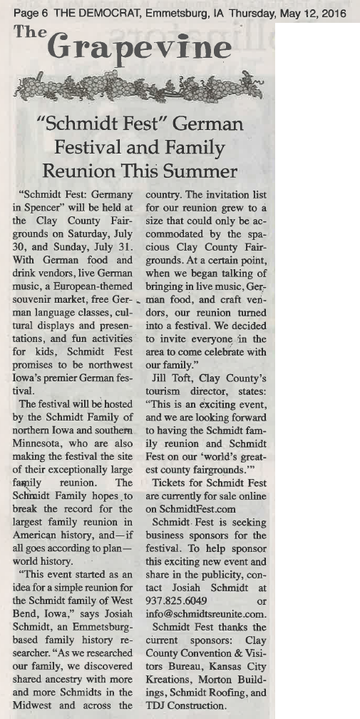 Schmidt Fest article - Emmetsburg Democrat - 12 May 2016 - page 6