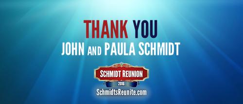Thank You - John and Paula Schmidt