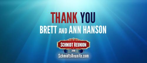 Thank You - Brett and Ann Hanson