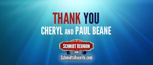 Thank You - Cheryl and Paul Beane