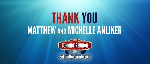 Thank You - Matthew and Michelle Anliker