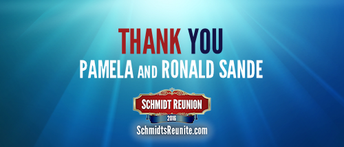 Thank You - Pamela and Ronald Sande